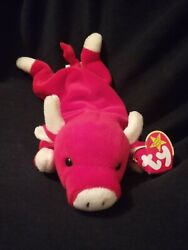 Rare Retired Snort The Beanie Baby Red Bull With The Original Tag
