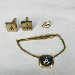 Vintage Masonic Tie Bar With Chain Gold Filled 1/20 12k Cuff Links Pin
