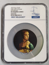 Palau 2020 Silver Coin Micromosaic Passion Lady With An Ermine S20 Ngc Pf70