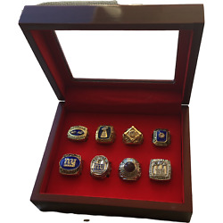 Usa New York Giants Nfl Super Bowl Championship 8 Pc Ring Set And Display Case