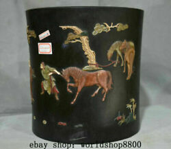 9.6 Old China Rosewood Inlay Jade Shell Dynasty Carved People Horse Brush Pot