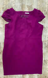 Marks And Spencers Dress Size 16 Purple Midi Cap Sleeves Work Wear Smart Mid