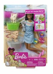 Barbie Play Nand039 Wash Pets 3 Color Change Animals And Brunette Doll Fxh12 New Sealed