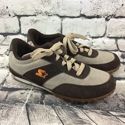 Starter Mens Sz 10 Shoes Brown Leather Star-max Sneakers Canvas Athletic Lace-up