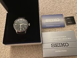 Seiko Menand039s Presage Cocktail Time Green Dial Leather Strap Watch Srpd37