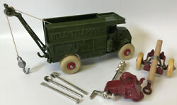 Vintage 1930and039s Hubley Cast Iron Bell Telephone Truck And Accessories Restored.