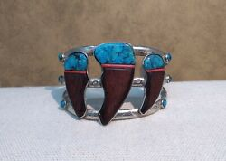 Men's Xl Wood Carved Bear Claw Style Silver Cuff Bracelet Signed Beaver S.