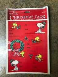 Hallmark Vintage Snoopy And Woodstock Self-adhesive Christmas Tags Stickers Seals