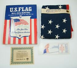 49 Star American Us Flag 3and039 X 5and039 By Bulldog Bunting Dettras Box / Certificate