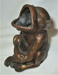 Antique Jennings Brothers Usa Monkey Art Statue Sculpture Ashtray Paperweight Us