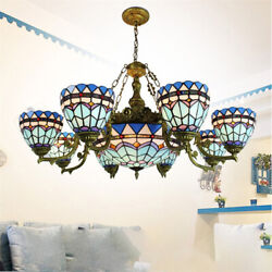 Large Blue Stained Glass Chandelier Bowl Shade Ceiling Light Fixture