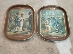 Two Limited Edition Coca-cola Trays From The Romance Of Coca-cola Series