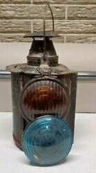 Vintage Union Pacific Railroad Adlake Lamp Signal Lantern Blue And Yellow Lens