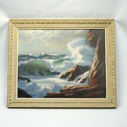 Fred M. Hines 30 36 Oil Painting Kennebunkport Ocean Scene Cliff Side