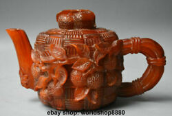 9.2 Old Chinese Ox Horn Dynasty Carving Palace Lychee Leaf Handle Teakettle Pot