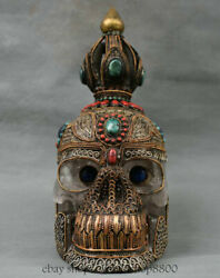 9.2 Tibet Crystal Silver Gilt Inlay Turquoise Coral Skull Head Skeleton Statue