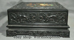 11 Chinese Ebony Wood Inlay Conch Shell Carving Dragon Flower Bird Cabinet Box