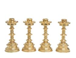 Set Of 4 Antique Brass Candlesticks Victorian Gothic Lathe Turned And Castellated