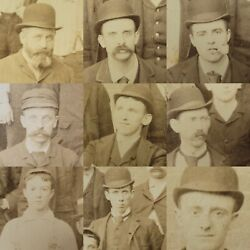 Antique Group Photo Company Men Employees Young Suit Tie Clothing Boss Faces Usa