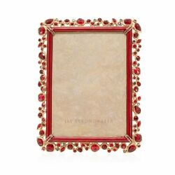 Jay Strongwater Leslie Bejeweled 5x7 Frame Red Spf5844-224 Brand Nib Save F/s