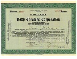 Roxy Theatres Corporation Issued Stock Certificate Signed Samuel Rothafel 1927