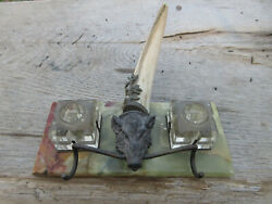 Antique Art Nouveau English Wild Boar Inkwell Pen Holder And Tusk On Marble Base