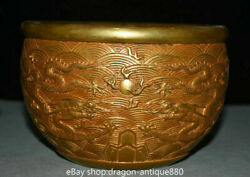 8 Xuande Marked Old Chinese Copper Gold Dynasty Palace Dragon Pot Jar Crock