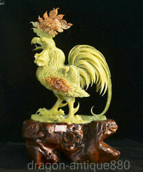 21.2 Natural Green Xiu Jade Jadeite Carved Feng Shui Animal Rooster Cock Statue