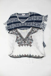 Love Sam Velvet Womens Embroidered Tunic Top White Black Size Small LOT 2 $29.01