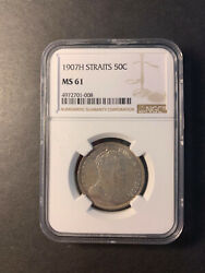 Straits Settlements Edward Vii Silver 50 Cents 1907 H Uncirculated Ngc Ms61