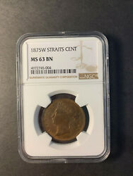 Straits Settlements Queen Victoria 1 Cent 1875 W Uncirculated Ngc Ms63 Bn