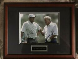 Tiger Woods And Arnold Palmer Signed Autographed 8x10 Photograph. Framed