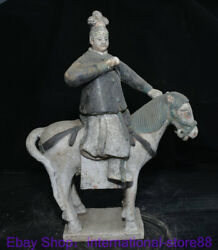 15.6 Old China Tang Sancai Pottery Palace Maid Belle Ride Horse Statue Pair