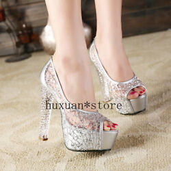 Women Shoes New Nightclub Night Host Stage Thick Super High Heel Fish Mouth Shoe