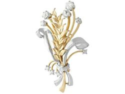 1.40ct Diamond 18ct Yellow And 18ct White Gold Brooch - Vintage Circa 1950