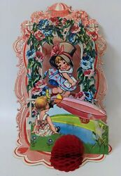 Victorian Antique Vintage Germany Diecut Fold-out Honeycomb Valentines Day Card.