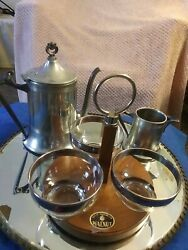 Sheffield Plated Silver 6 Piece Tea Set With Solid Walnut Server