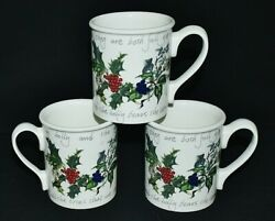 Portmeirion Set Of 3 The Holly And The Ivy Breakfast Mugs Made In Britain Xlnt