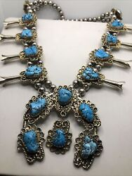 Vintage Native American Solid Sterling Silver Turquoise Squash Blossom Necklace