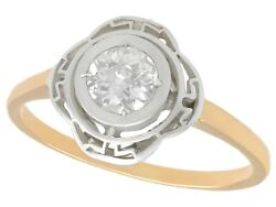 Antique 0.51ct Diamond And 14ct Yellow Gold Silver Set Solitaire Ring Circa 1920
