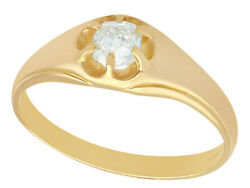 Contemporary And Antique 0.48 Ct Diamond And 18k Yellow Gold Gentand039s Solitaire
