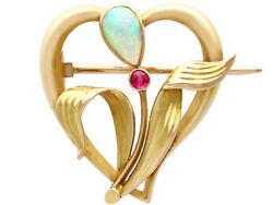 Antique Art Nouveau 0.30 Ct Opal And Ruby, 15k Yellow Gold Brooch