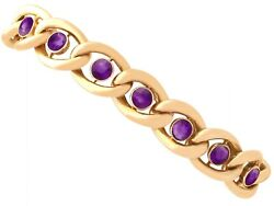 Antique 3.75ct Amethyst And 15k Yellow Gold Bracelet With Heart Padlock Clasp