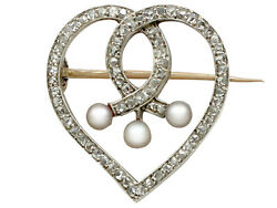 Antique 0.58 Ct Diamond And Seed Pearl, 18k Yellow Gold 'heart' Brooch