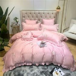Pink Luxury Egyptian Cotton Bedding Set Queen King Bed Set Feather Embroidery
