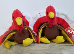 Rare Ty Beanie Babies Gobbles The Turkey 1996 Red, Tag Errors, Retired, 2