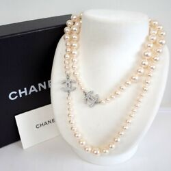 Authentic Pearl Long Necklace Coco Mark Engraved A13 V