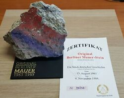 Original Very Large 11 Cm Piece Of The Berlin Wall On Perspex Display + Coa