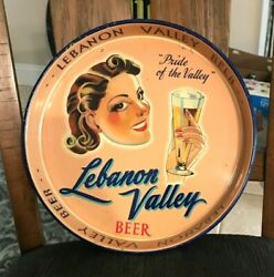 Excellent Condition Lebanon Valley Beer Girl / Lady 13 Metal Tin Litho Tray Pa
