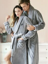 Female Robes Winter Flannel Dressing Gown Pink Letter Embroidery Long Bath Robe